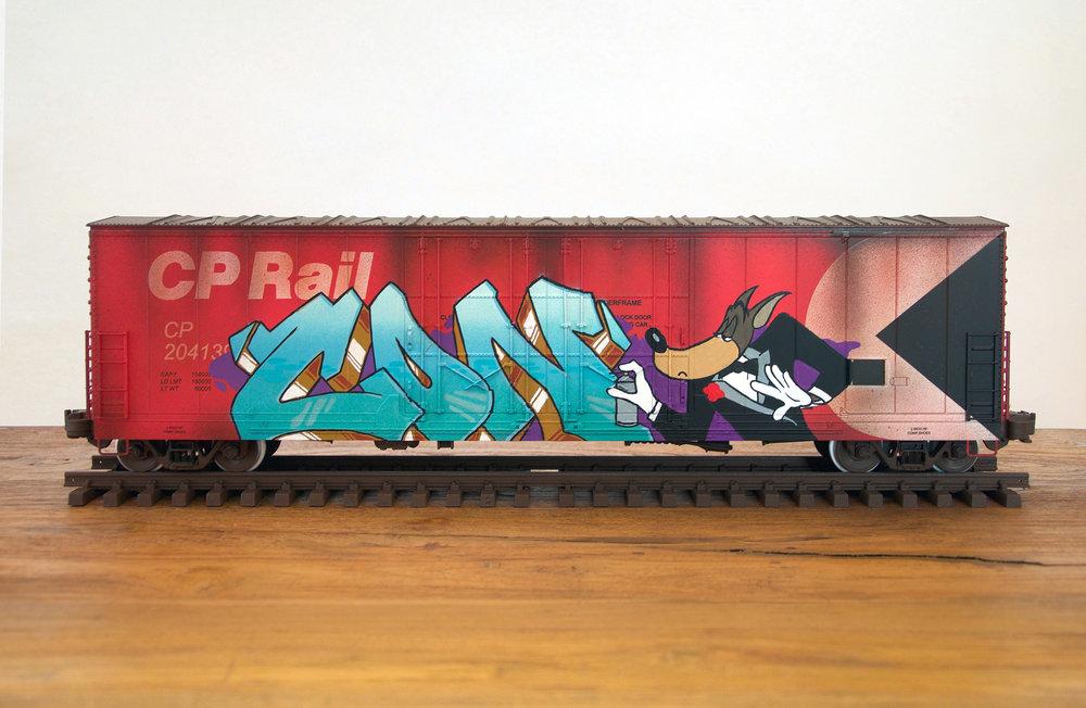CP #3IC, G Scale Train, Freight Train Graffiti, Boxcar Art, Railroad Art, Tim Conlon Art