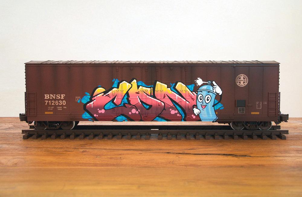 BNSF #3, G Scale Train, Freight Train Graffiti, Boxcar Art, Railroad Art, Tim Conlon Art
