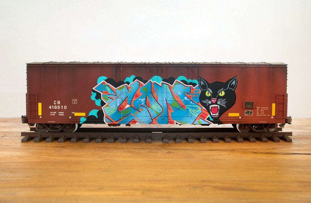 CN #26, G Scale Train, Freight Train Graffiti, Boxcar Art, Railroad Art, Tim Conlon Art