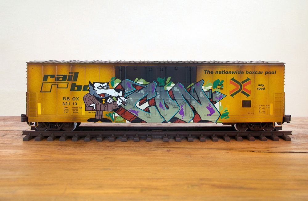 RBOX #4, G Scale Train, Freight Train Graffiti, Boxcar Art, Railroad Art, Tim Conlon Art
