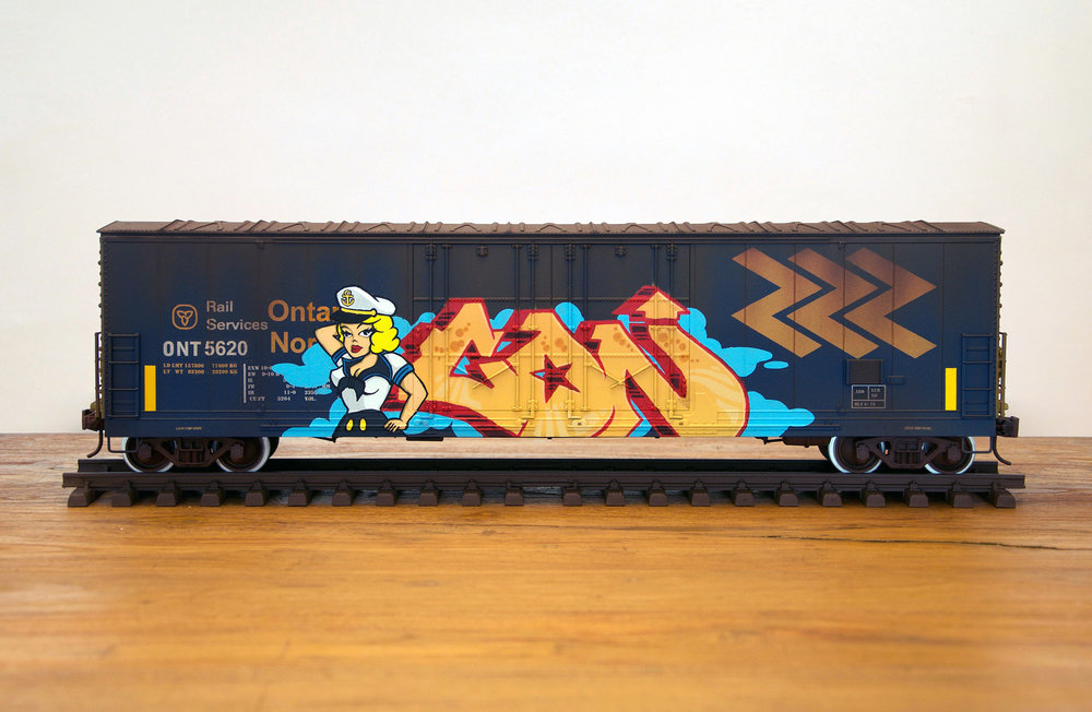 ONT #2, G Scale Train, Freight Train Graffiti, Railroad Art, Tim Conlon Art