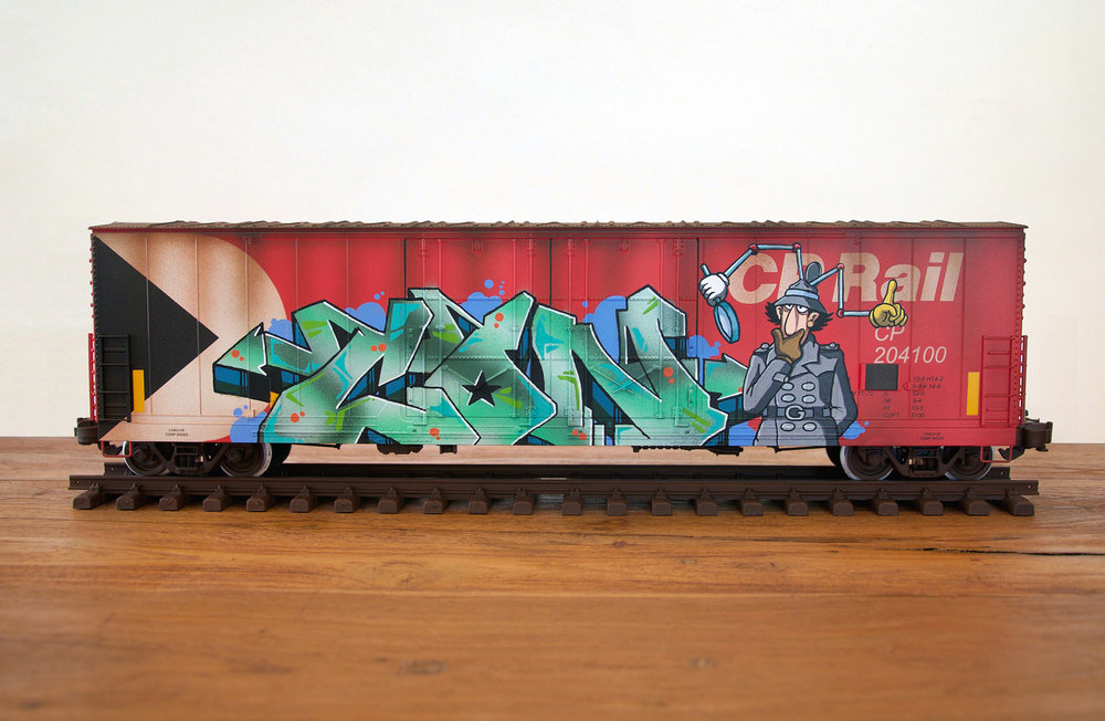CP #4, G Scale Train, Freight Train Graffiti, Boxcar Art, Railroad Art, Tim Conlon Art