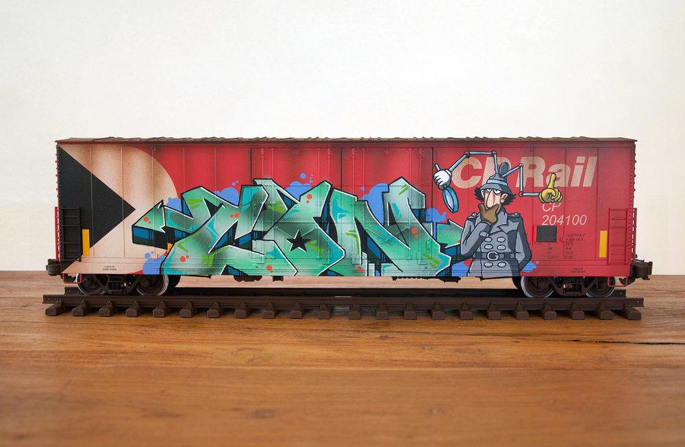 CP #4, G Scale Train, Freight Train Graffiti, Boxcar Art, Railroad Art, Tim Conlon Art