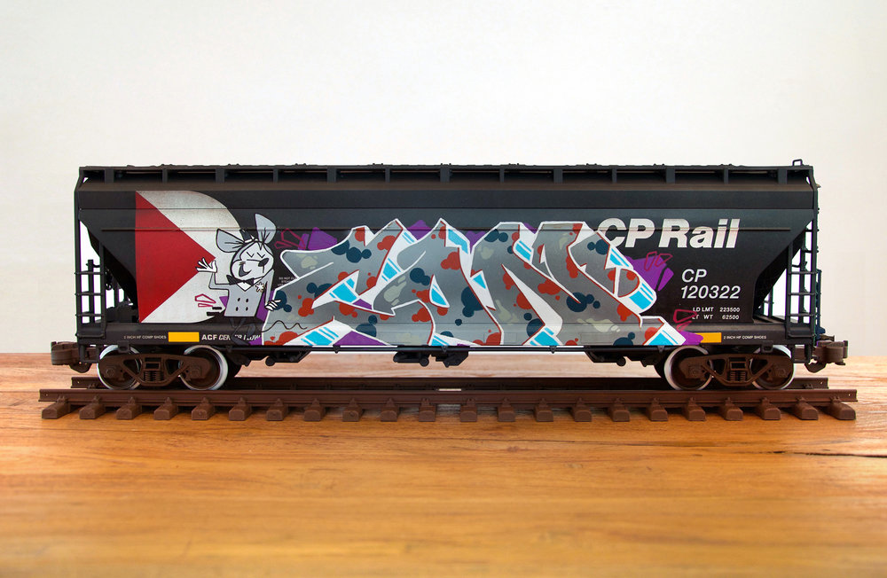 CP #5, G Scale Train, Freight Train Graffiti, Boxcar Art, Railroad Art, Tim Conlon Art
