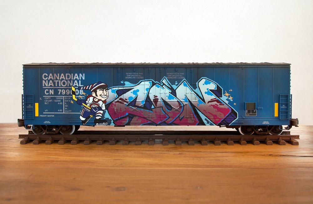 CN #27, G Scale Train, Freight Train Graffiti, Boxcar Art, Railroad Art, Tim Conlon Art