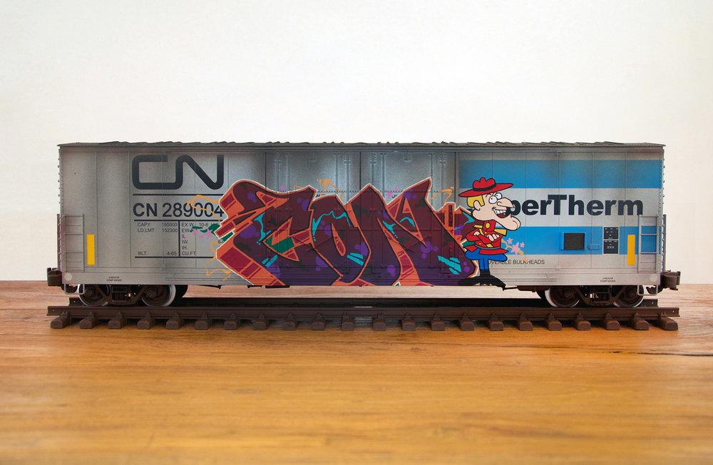 CN #28, G Scale Train, Freight Train Graffiti, Boxcar Art, Railroad Art, Tim Conlon Art
