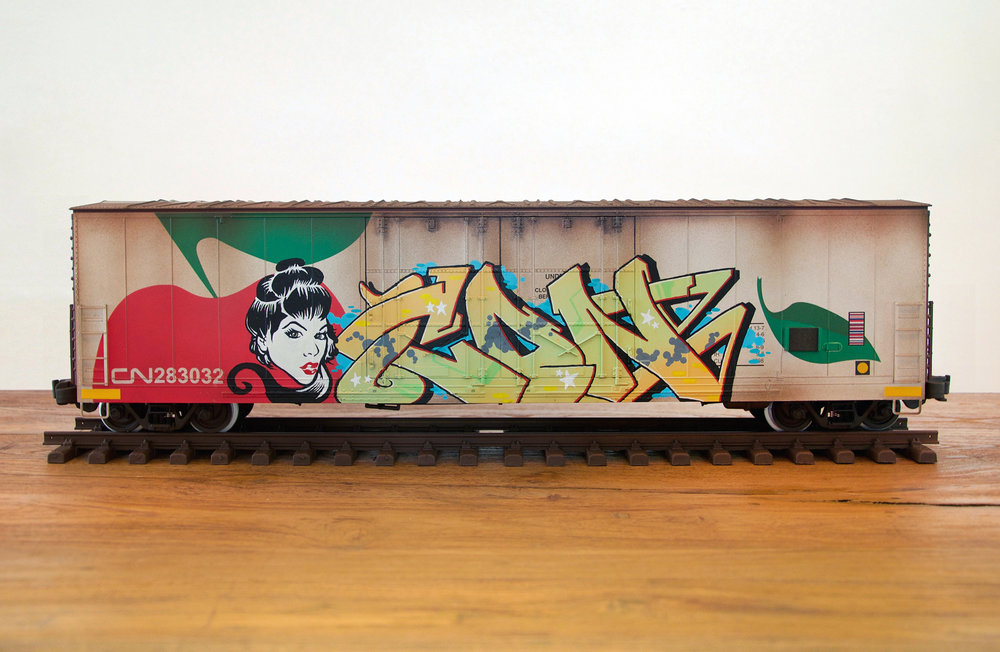 CN #30, G Scale Train, Freight Train Graffiti, Boxcar Art, Railroad Art, Tim Conlon Art