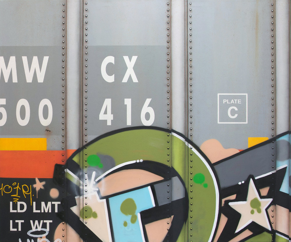 Blank Canvas #82 - MWCX, Freight Train Boxcar Painting, Tim Conlon Art