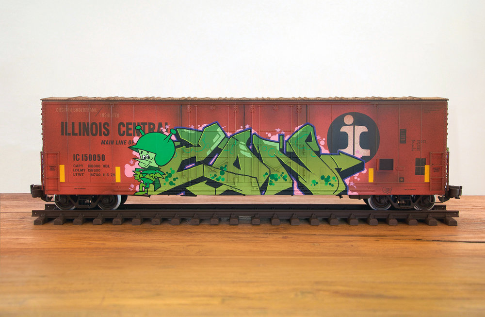 IC, G Scale Train, Freight Train Graffiti, Railroad Art, Tim Conlon Art