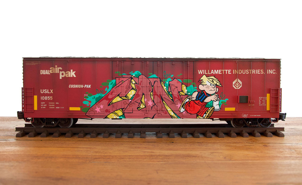 USLX #7, G Scale Train, Freight Train Graffiti, Railroad Art, Tim Conlon Art