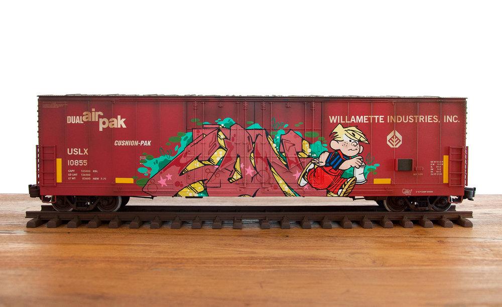 USLX #7, G Scale Train, Freight Train Graffiti, Railroad Art, Tim Conlon Art