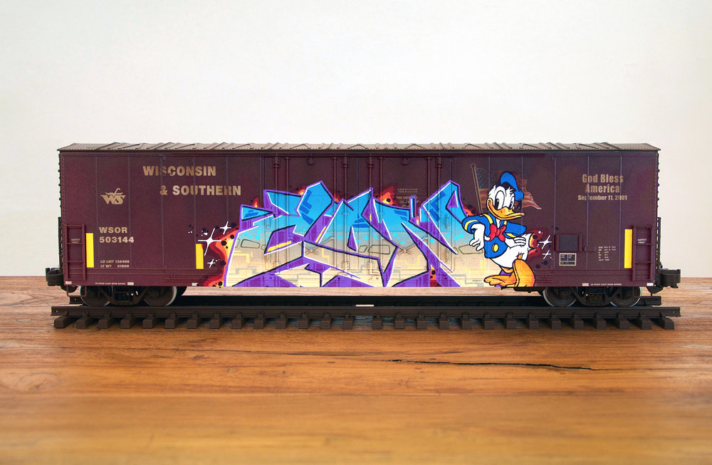 WS, G Scale Train, Freight Train Graffiti, Railroad Art, Tim Conlon Art