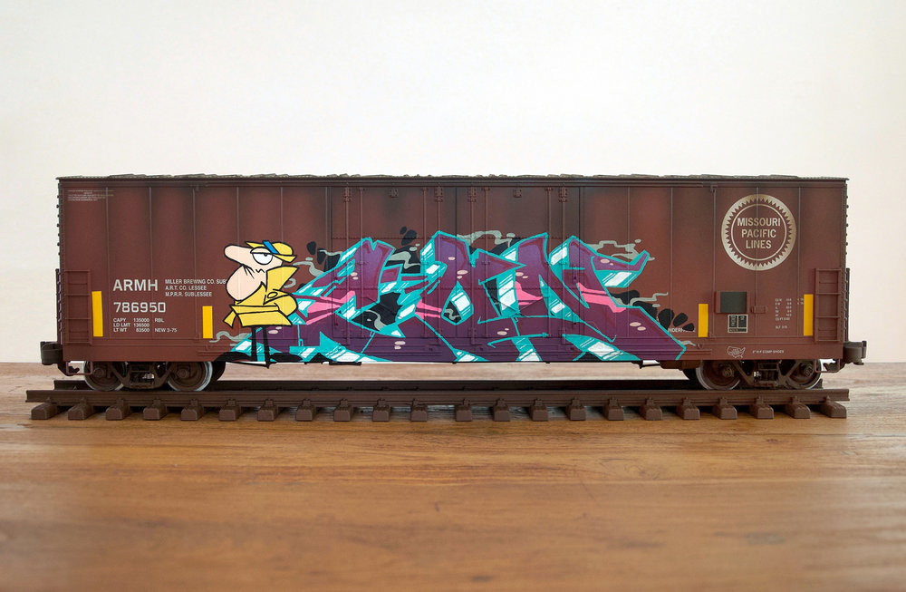 MP #4, G Scale Train, Freight Train Graffiti, Railroad Art, Tim Conlon Art