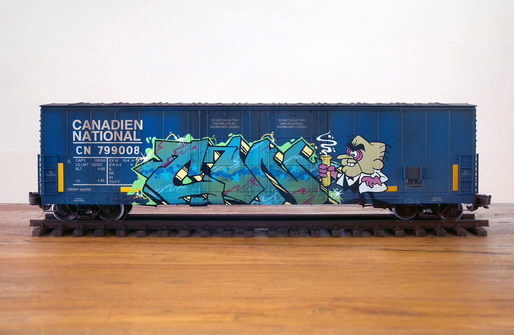 CN #31, G Scale Train, Freight Train Graffiti, Railroad Art, Tim Conlon Art