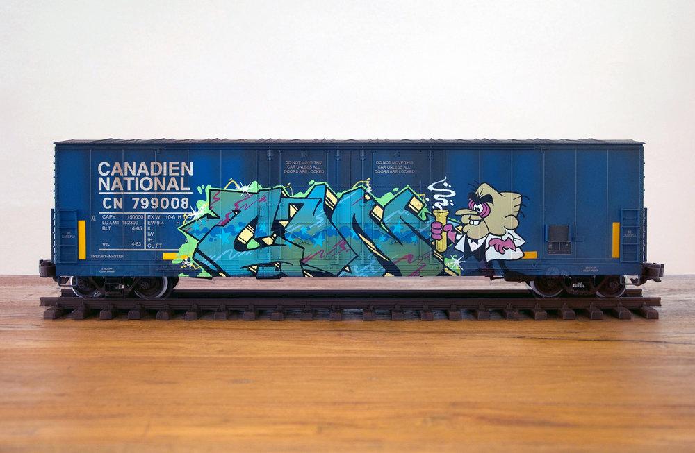 CN #31, G Scale Train, Freight Train Graffiti, Railroad Art, Tim Conlon Art