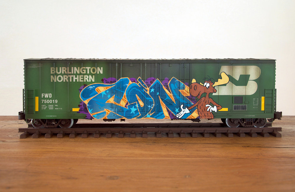 BN #4, G Scale Train, Freight Train Graffiti, Railroad Art, Tim Conlon Art