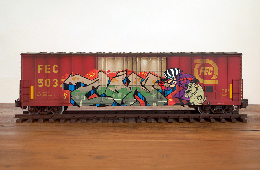FEC #4, G Scale Train, Freight Train Graffiti, Railroad Art, Tim Conlon Art
