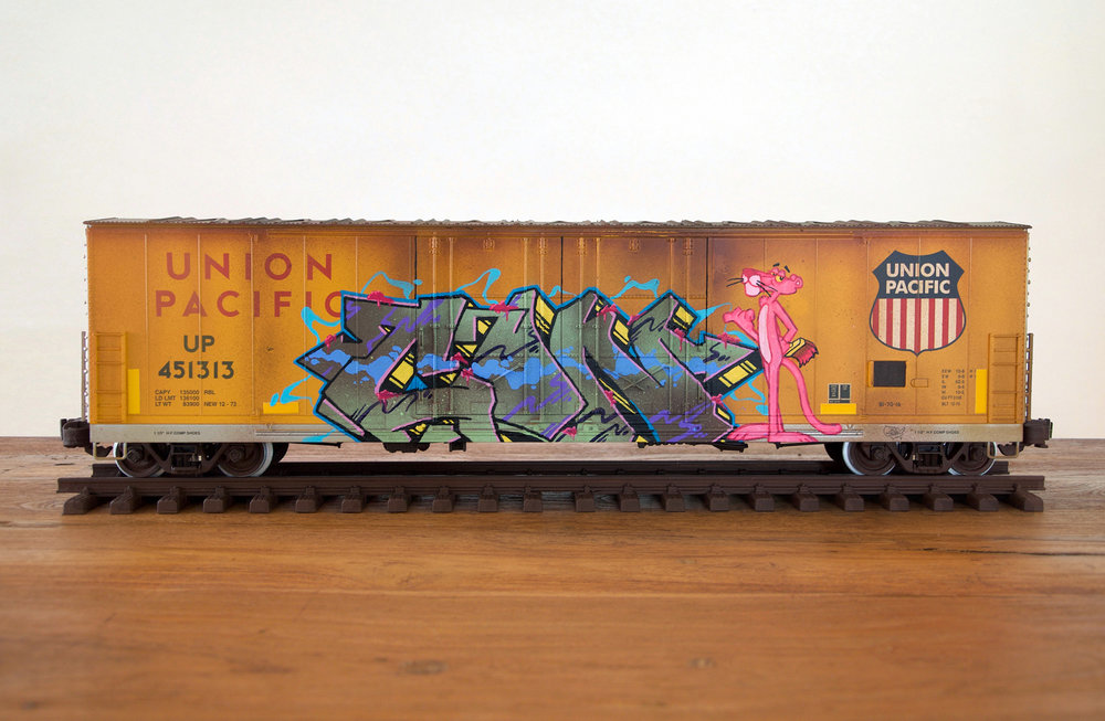 UP #11, G Scale Train, Freight Train Graffiti, Railroad Art, Tim Conlon Art