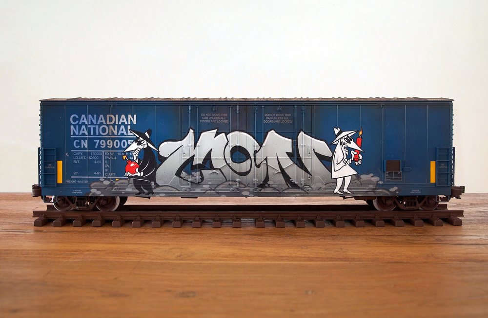 CN #32, G Scale Train, Freight Train Graffiti, Railroad Art, Tim Conlon Art