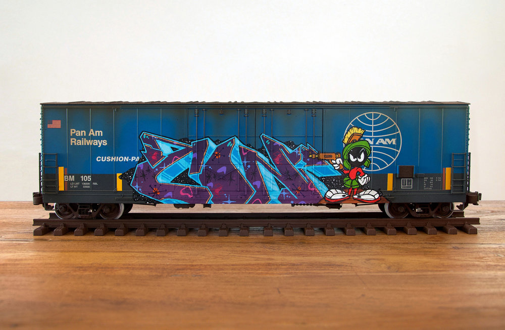 Pan Am #3, G Scale Train, Freight Train Graffiti, Railroad Art, Tim Conlon Art