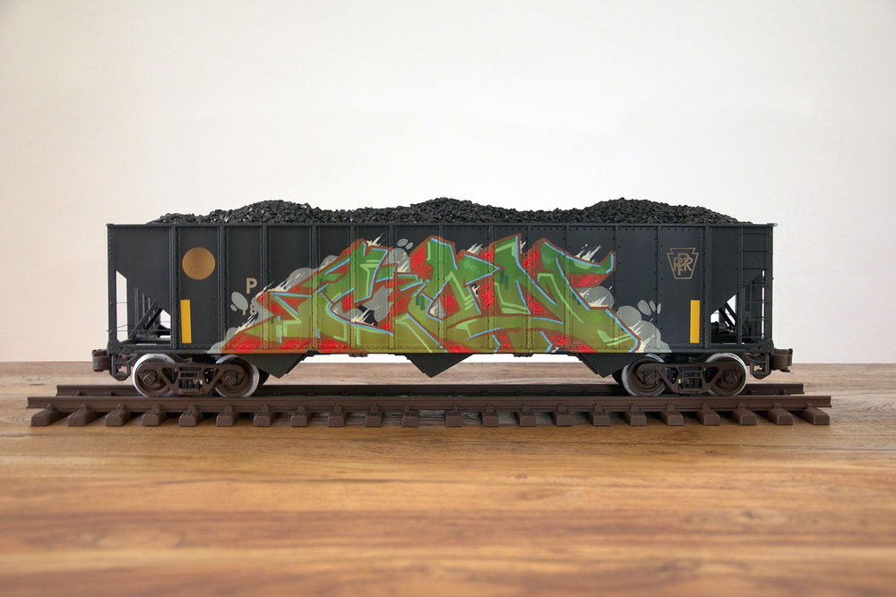 PRR #5, G Scale Train, Freight Train Graffiti, Railroad Art, Tim Conlon Art