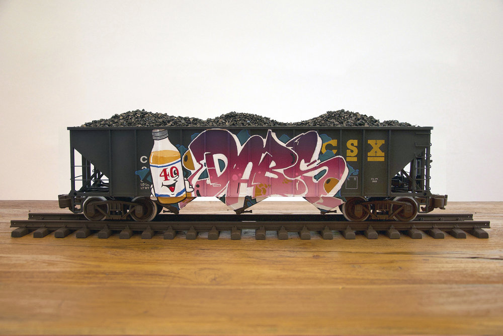 CSXT #3, G Scale Train, Freight Train Graffiti, Railroad Art, Tim Conlon Art