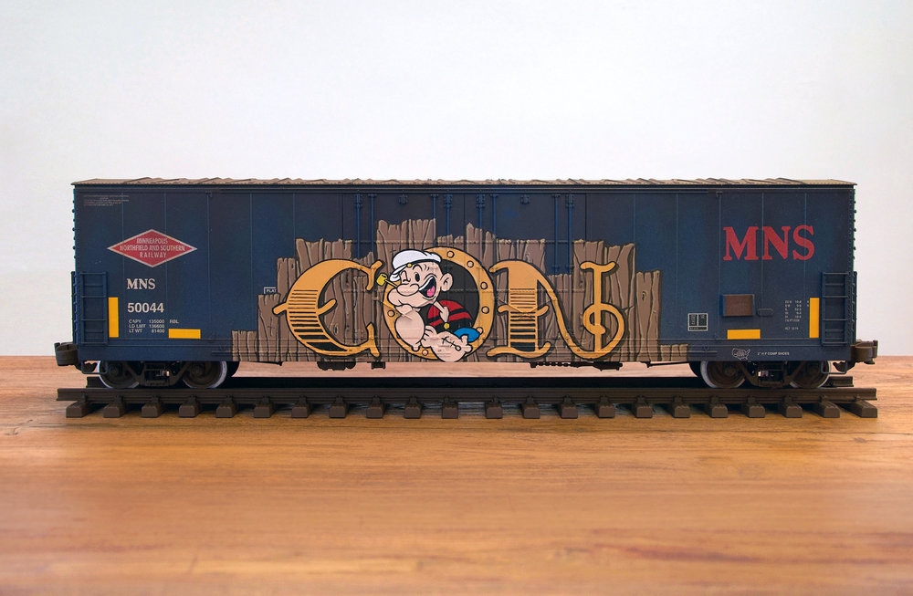MNS #6, G Scale Train, Freight Train Graffiti, Railroad Art, Tim Conlon Art