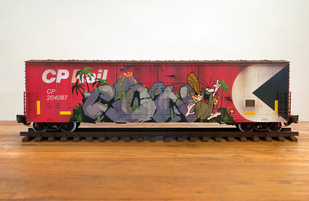 CP #6, G Scale Train, Freight Train Graffiti, Boxcar Art, Railroad Art, Tim Conlon Art