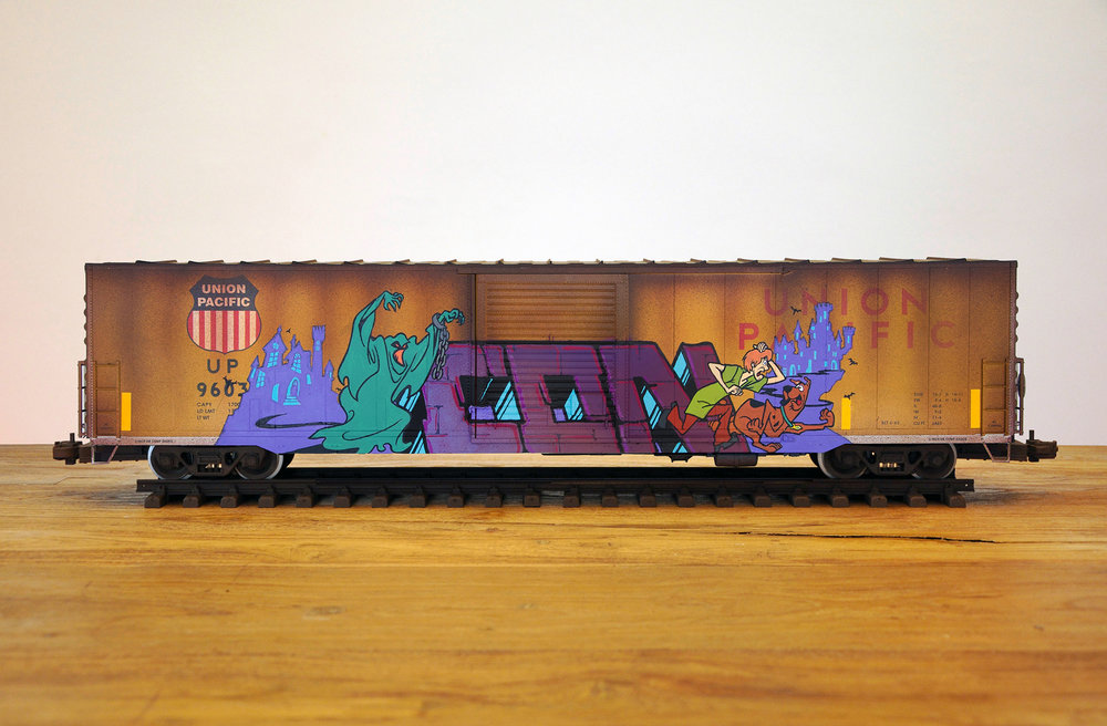 UP #12, G Scale Train, Freight Train Graffiti, Railroad Art, Tim Conlon Art