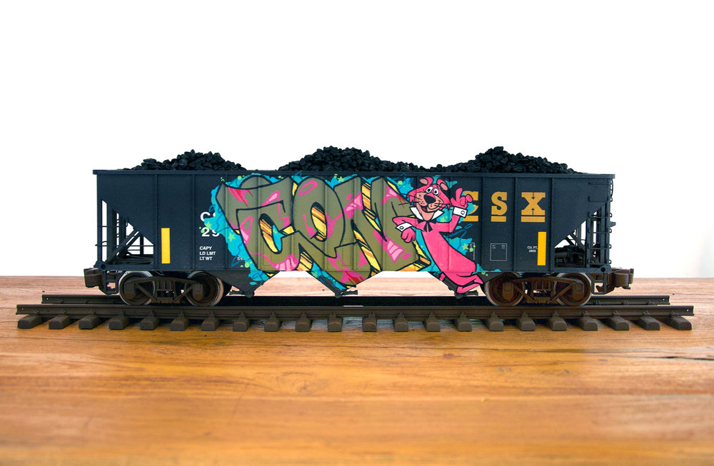 CSXT #4, G Scale Train, Freight Train Graffiti, Railroad Art, Tim Conlon Art
