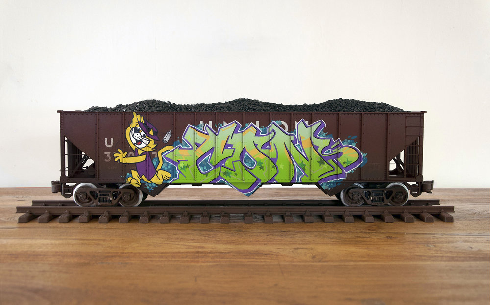 UP #13, G Scale Train, Freight Train Graffiti, Railroad Art, Tim Conlon Art