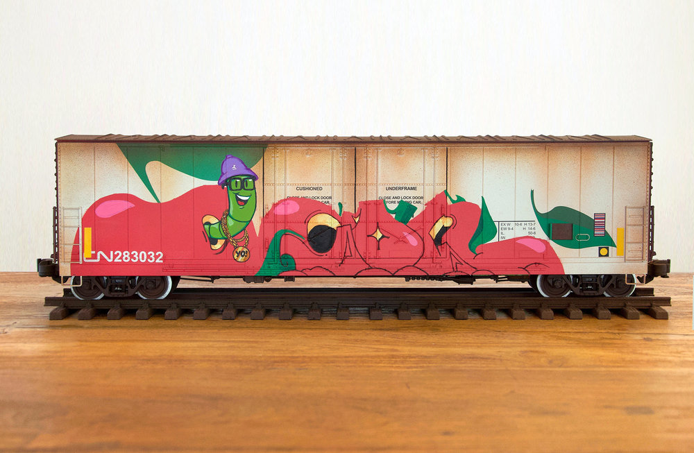 CN #35, G Scale Train, Freight Train Graffiti, Boxcar Art, Railroad Art, Tim Conlon Art