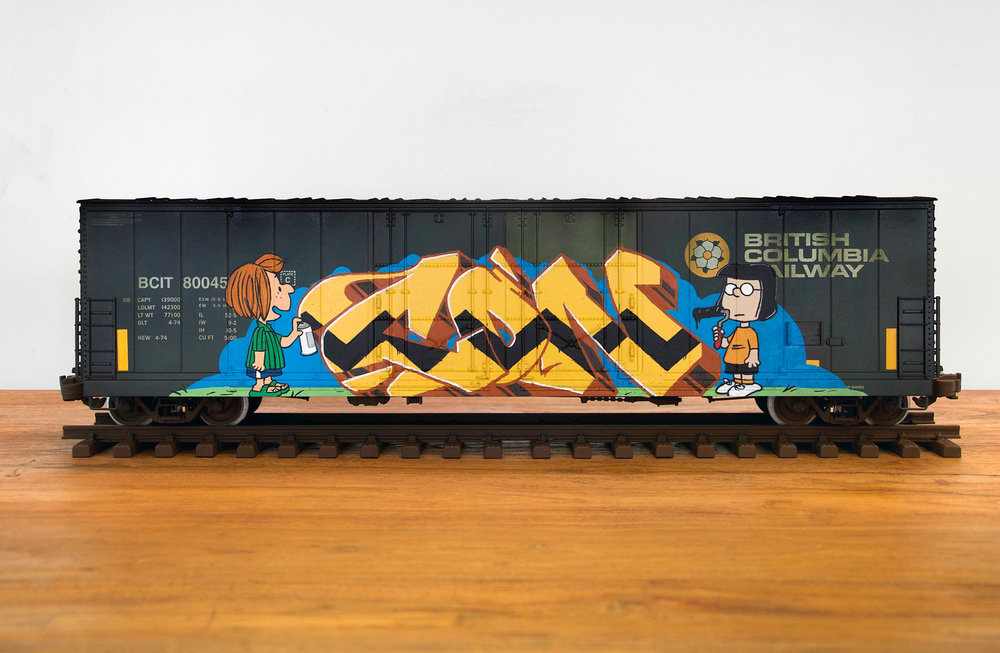 BCIT #5, G Scale Train, Freight Train Graffiti, Boxcar Art, Railroad Art, Tim Conlon Art