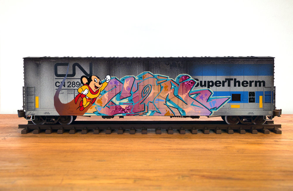 CN #36, G Scale Train, Freight Train Graffiti, Boxcar Art, Railroad Art, Tim Conlon Art