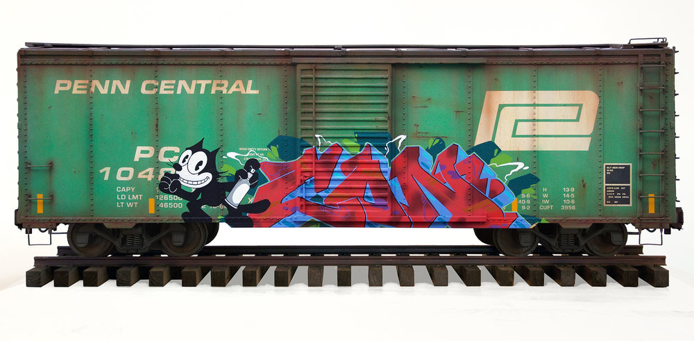Penn Central Boxcar, Freight Train Painting, Freight Train Graffiti, Live Steam, Railroad Art, Tim Conlon Art