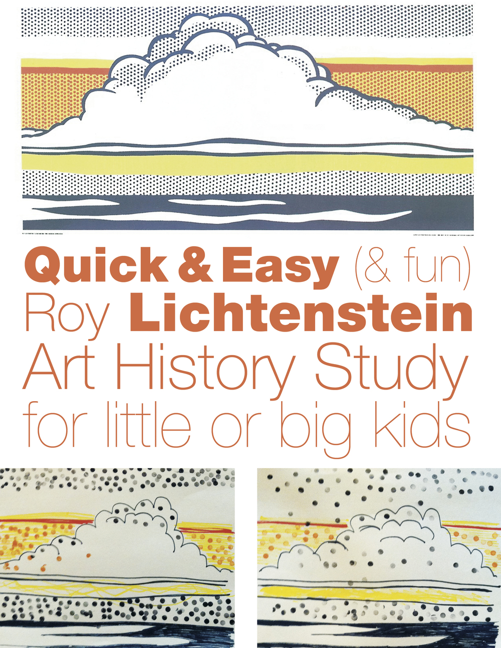 A fun and easy Roy Lichtenstein art history project for kids. Super simple, and so much fun.