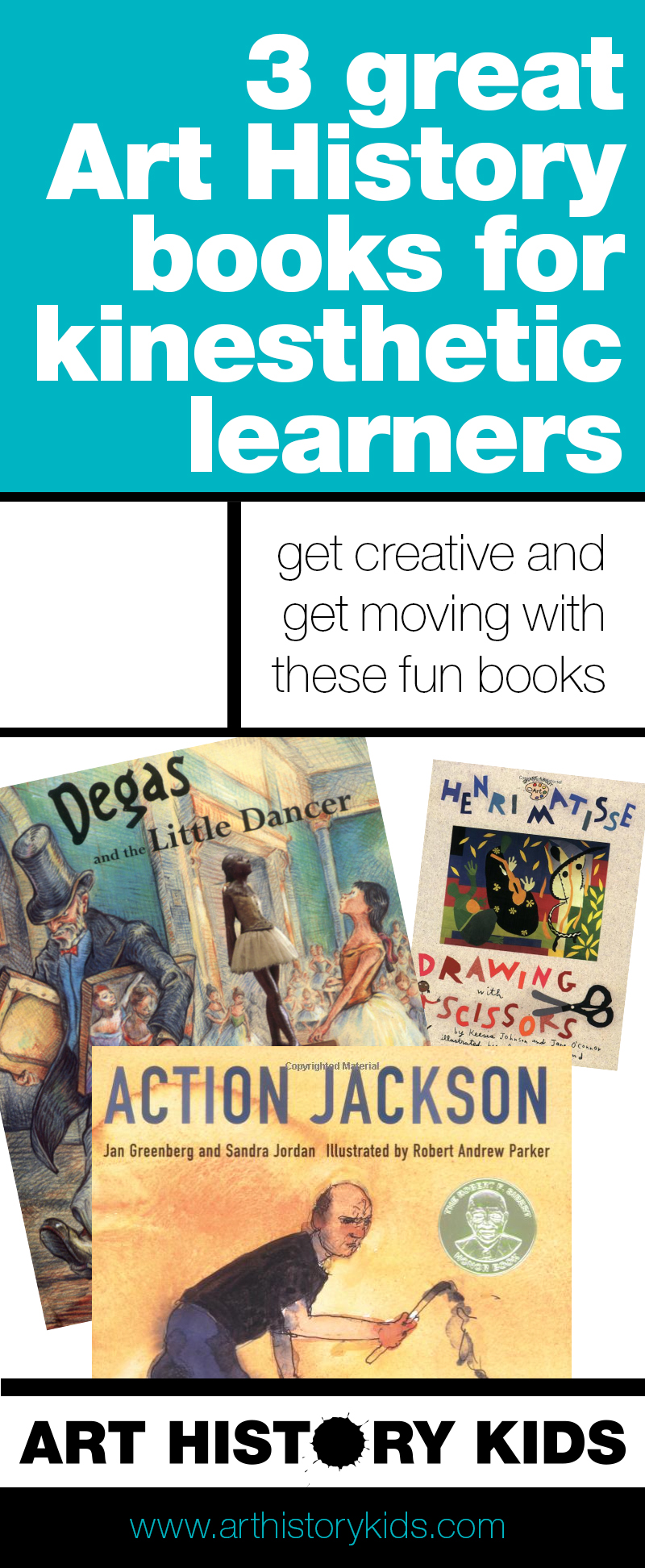 A great roundup of Art History Books for kids who are kinesthetic learners. Perfect for homeschoolers looking to supplement their art history unit studies. Click through to make art history fun for kids with these great art project ideas.