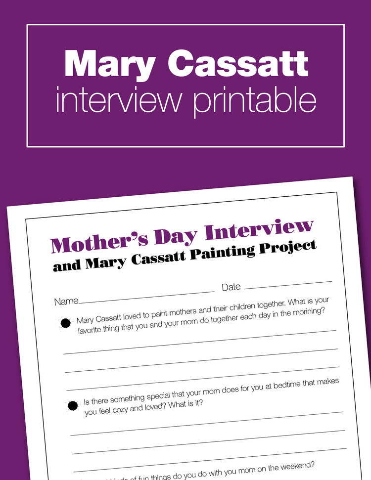 A fun free printable to go along with the Mary Cassatt unit study. A perfect art history project to do with your kids at home... and just in time for Mother's Day.
