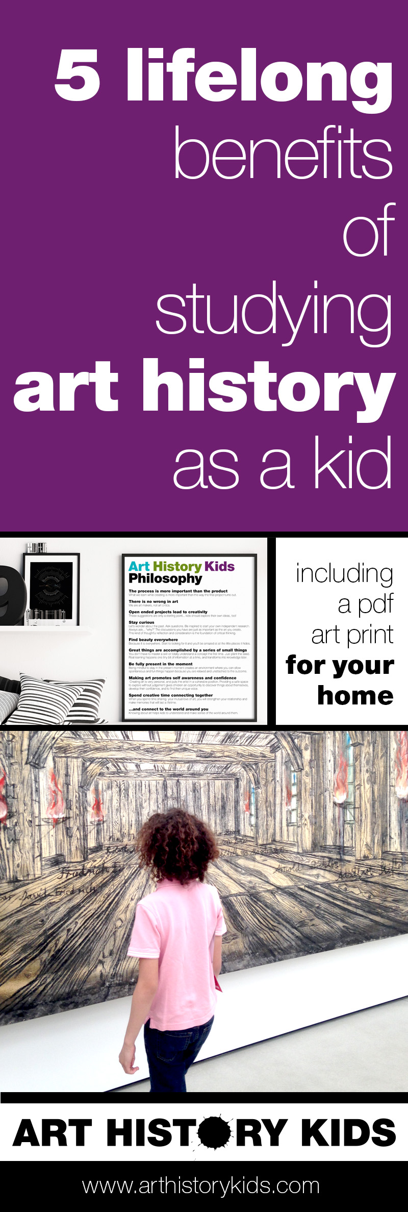 Kids who are introduced to art history at a young age (the younger the better) enjoy so many lifelong benefits. Print the Art History Kids philosophy and post it in your art area or kids' room as a reminder to enjoy art together every day... even if only for 5 minutes.