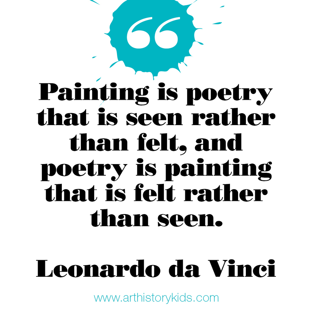 Art History for Kids. Leonardo da Vinci Quote.