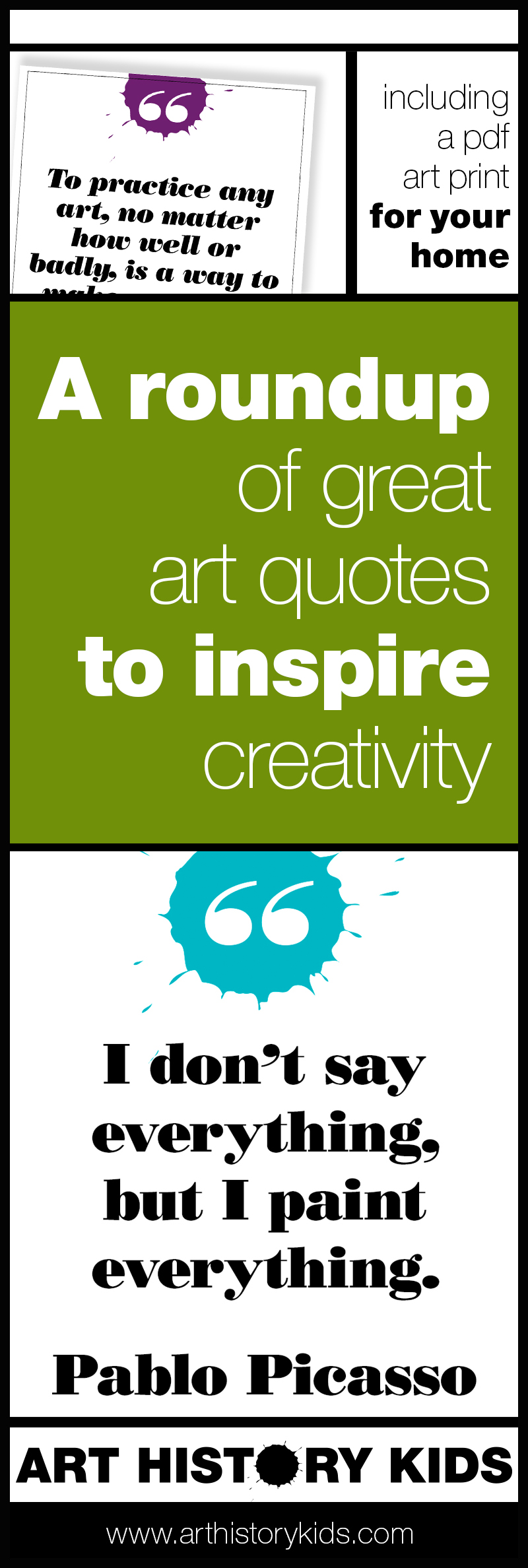 A roundup of art history quotes to keep you inspired! Creating with your kids is easy and fun! Click to see LOTS of great art history ideas for kids.