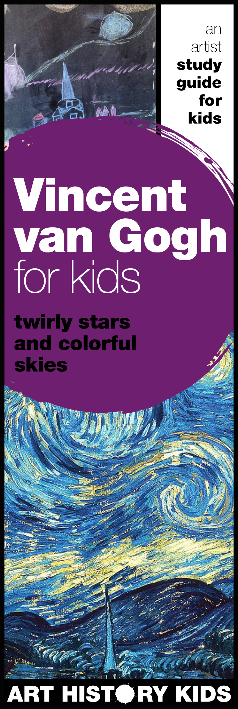 Explore The Starry Night and the art of Vincent van Gogh with your kids. This guide leads you through a discussion, observation, and creative open-ended project suggestions!