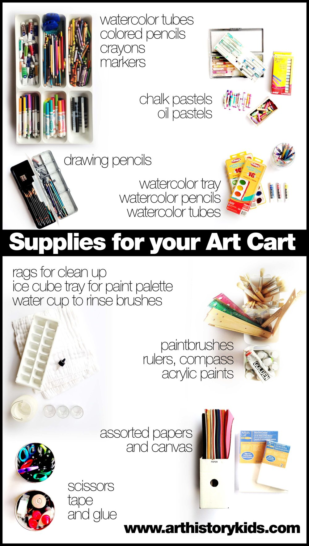 Learn quick and easy tips for setting up an art cart for your kids! Includes a step by step tutorial and a supply checklist.