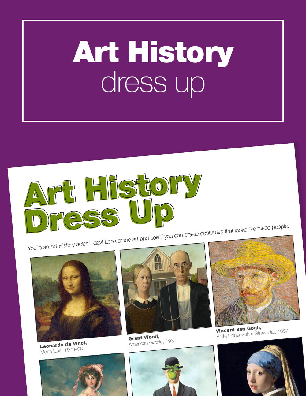 Fun art history lesson for kids... Play the art history dress up game! Download your free activity guide to get started.