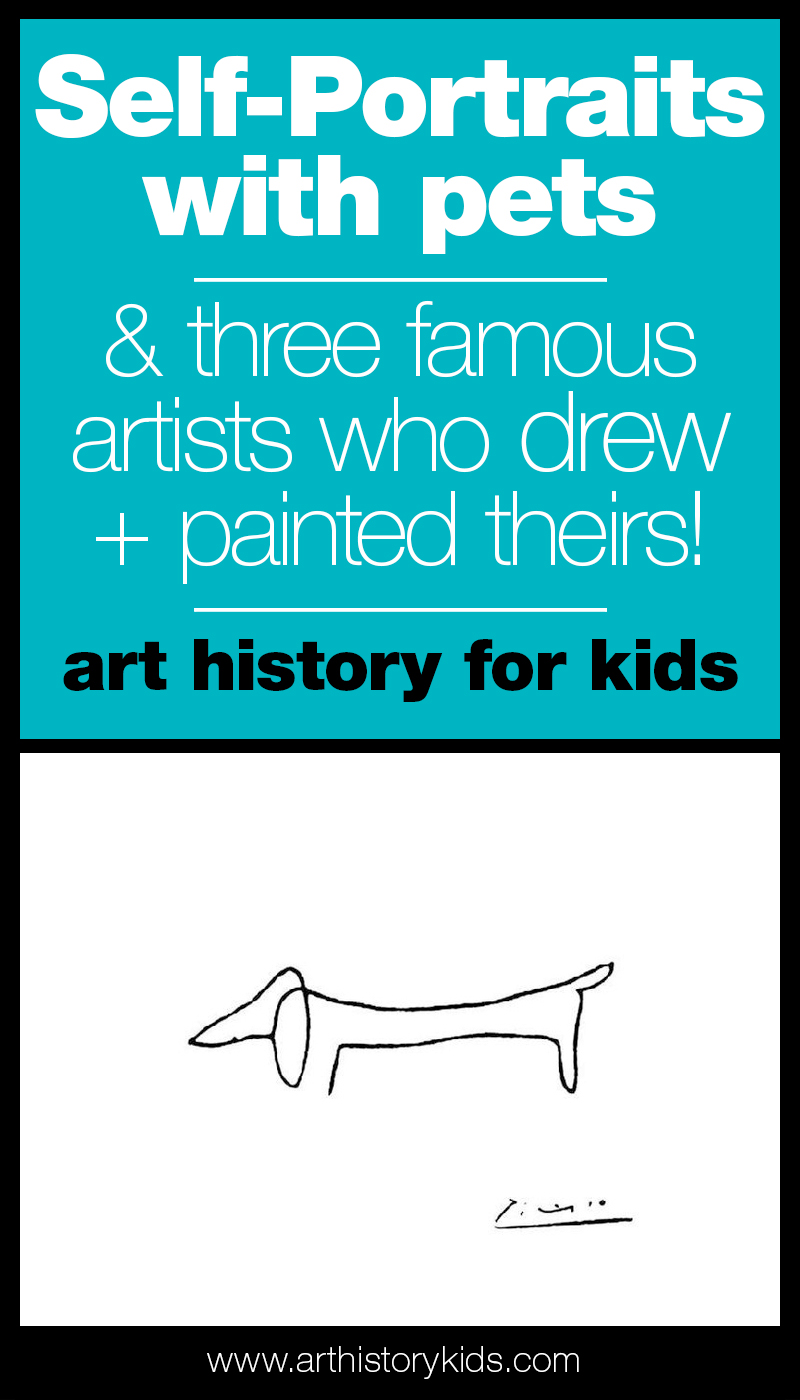 Self Portraits with pets! A fun art history lesson for kids featuring the art of Pablo Picasso, Paul Klee, and Frida Kahlo.