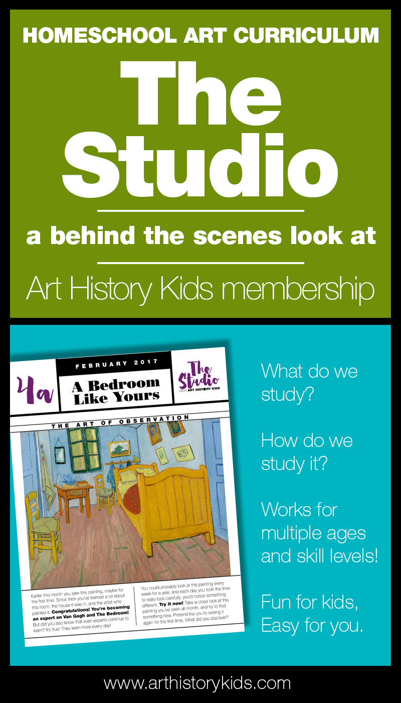 Easy to use homeschool art curriculum. The Studio is a fun monthly membership program at Art History Kids.