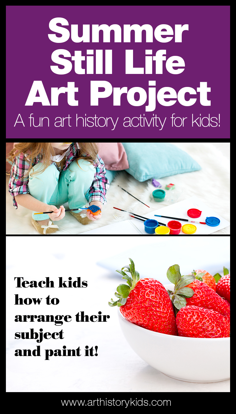 Summer art for kids- paint a summer still life... with full tutorial and activity guide printable!