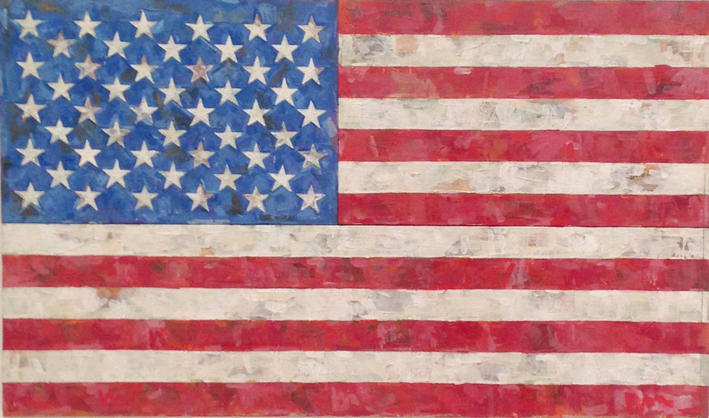 Jasper Johns, Flag, 1967, encaustic and collage on canvas (three panels)