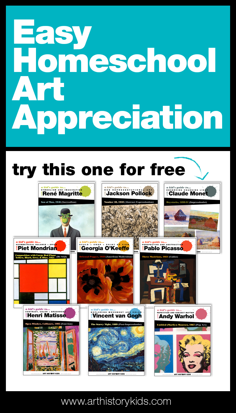 Easy homeschool art appreciation. A complete year-long homeschool art curriculum that combines art appreciation and art history with open ended project ideas.