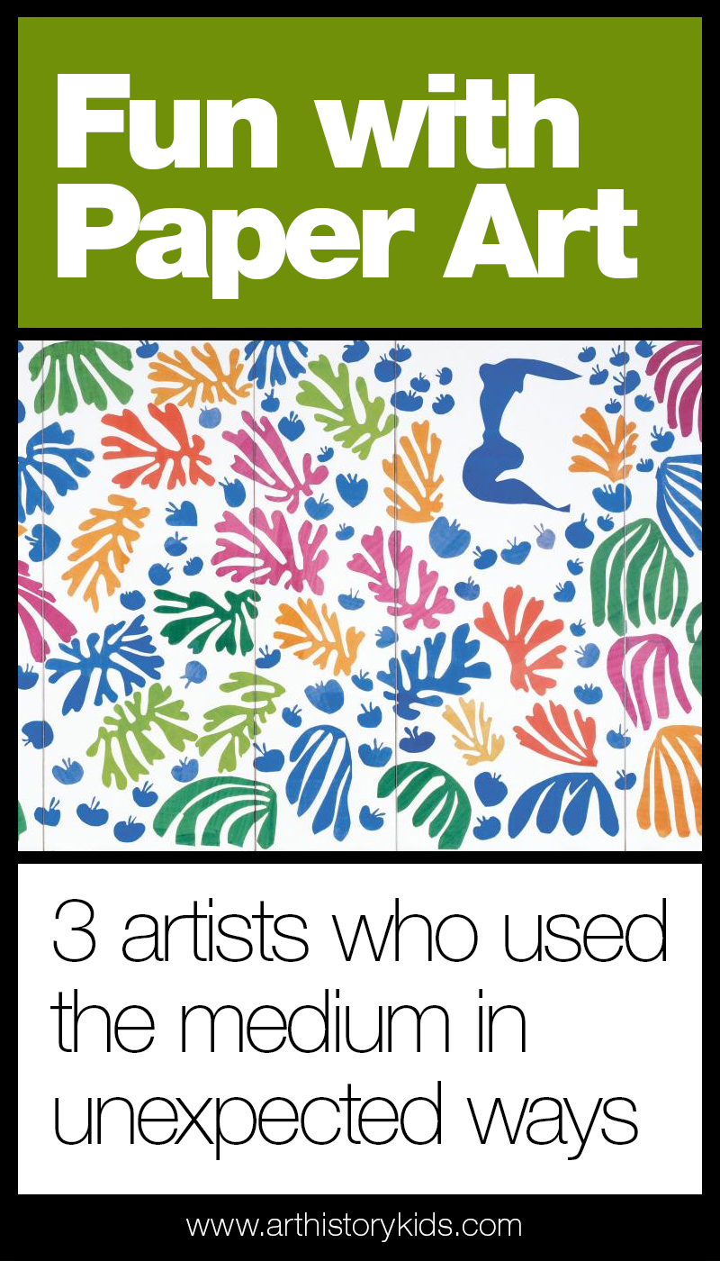 Paper art for kids - art history homeschool curriculum and lesson plans covering Henri Matisse, Robert Rauschenberg, and David Hockney